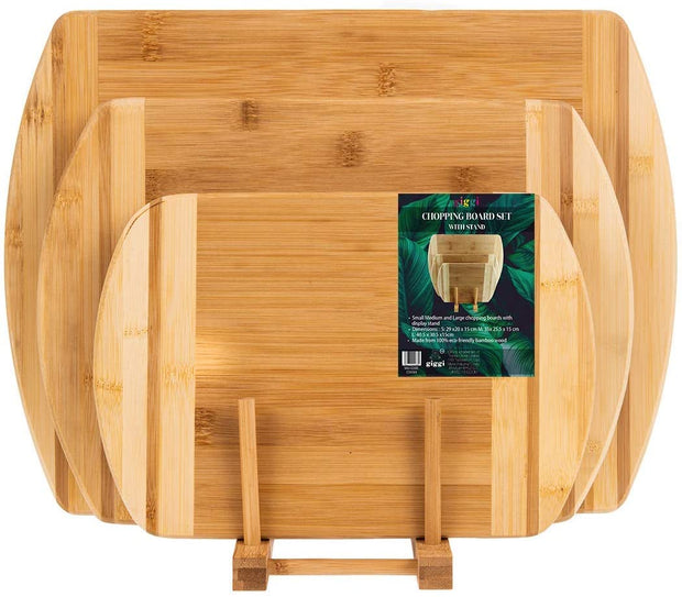 Set of 3 Bamboo chopping Board with stand
