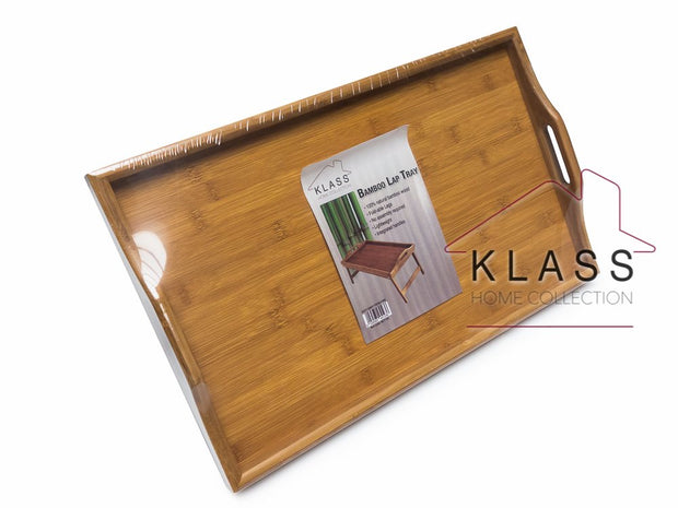 Natural Bamboo Lap Desk Breakfast Tray with Free Phone Holder - Klass Home