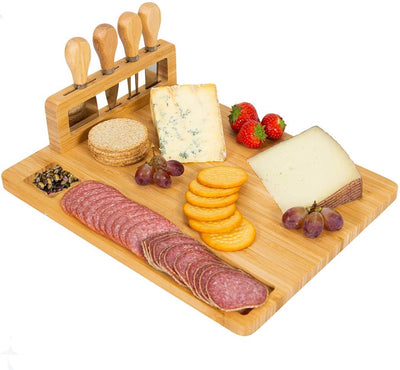 Giggi Bamboo Cheese Board Gift Set | Charcuterie Board | Cheese Board and Knife Set