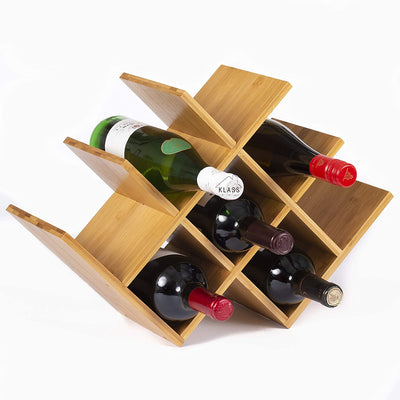 Contemporary Bamboo Wine Rack Free Standing