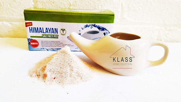 Ceramic Neti Pot With Himalayan Salt - Klass Home