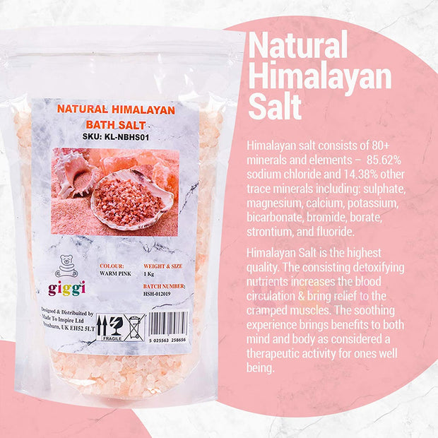 Giggi 1 KG 100% PURE Pink Himalayan Bath Salt - Natural Bath Minerals for Relaxant Recovery salts for Muscle Soak - Vegan friendly