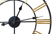 Vintage Metal Skeleton Clock- Black and Gold - Klass Home