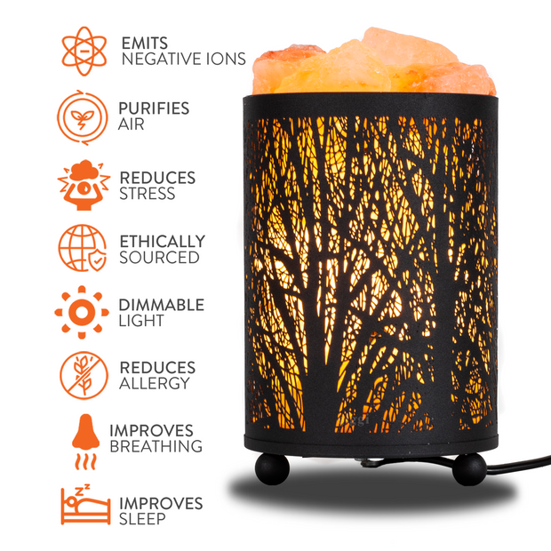 Black Metal Basket Salt Lamp with 100% Pure Himalayan Salt Chunks
