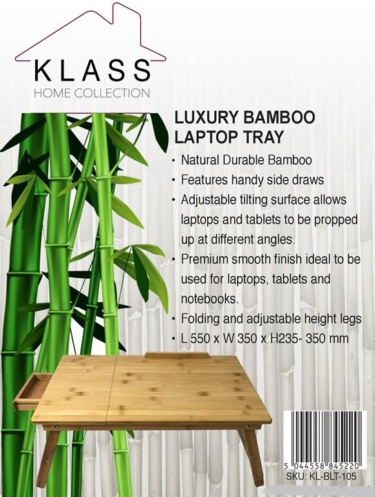Adjustable Luxury Natural Bamboo Wood Laptop Tray - Klass Home
