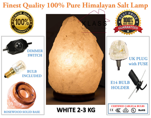 Rare White Natural Salt Lamp 2-3Kg - Klass Home
