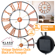 Klass home Vintage 70cm Skeleton Clock- Black and Rosegold