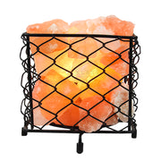 Wrought Iron Fire Bowl Basket With pink rock Crystal salt Chunks - Klass Home