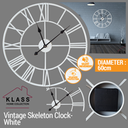 Klass Home Vintage Metal Skeleton Clock White