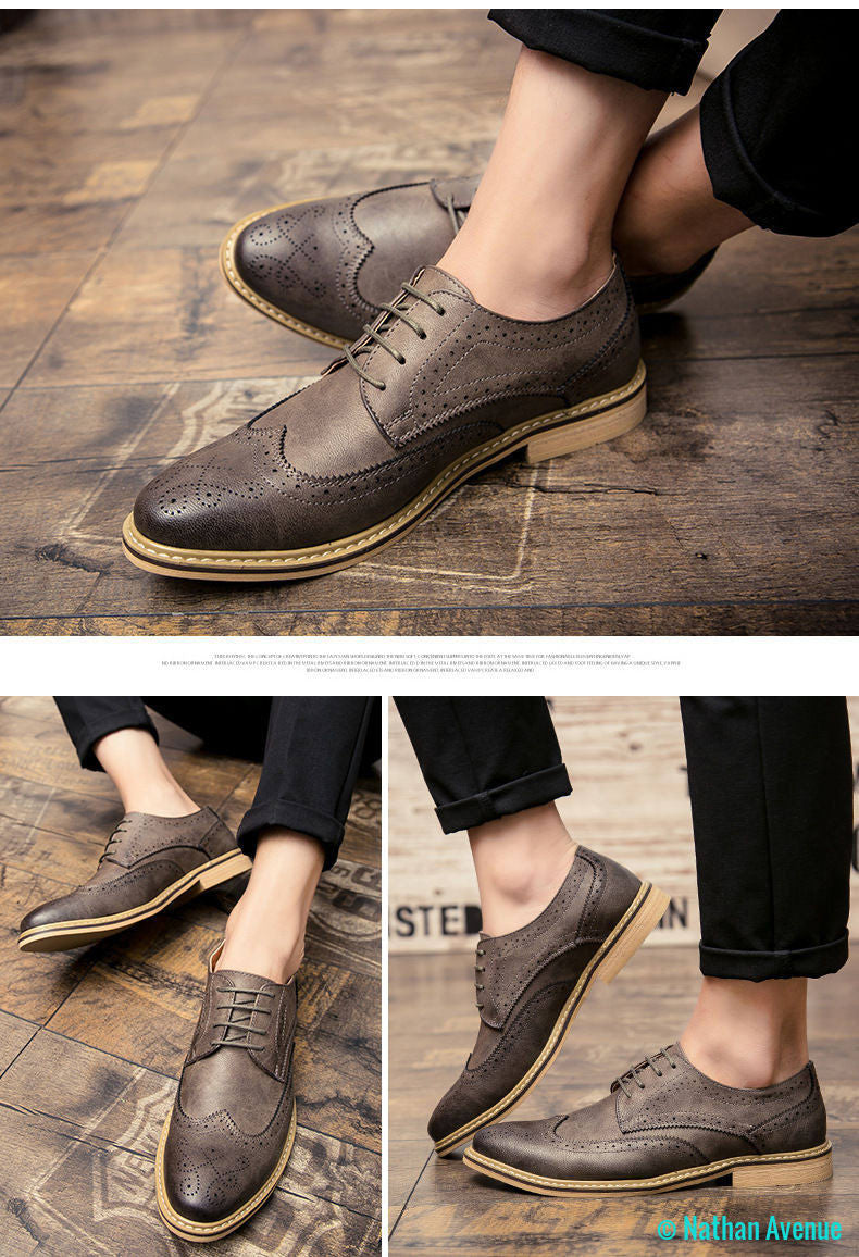 New 2017 Luxury Leather Brogue Mens Flats Shoes