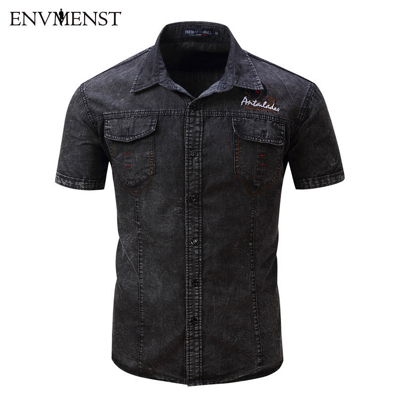 2017 Summer Men's Denim Shirts  S~XXL