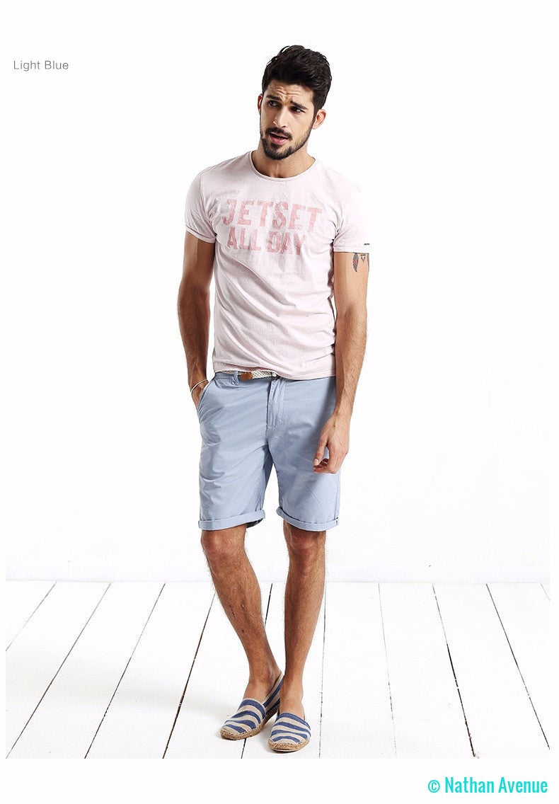 2017 Summer Fashion Casual Solid Cotton Slim Fit Short