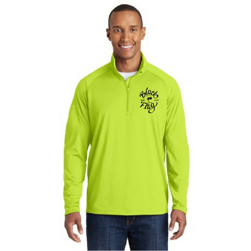Green 1/4 Zip Long Sleeve Black Flag Running Club Team Shirt