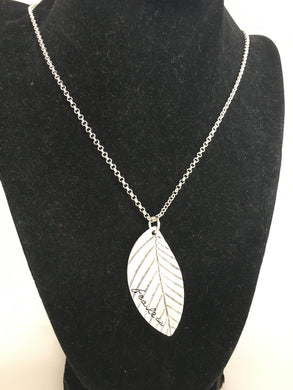 Fearless Silver Colored Leaf Necklace