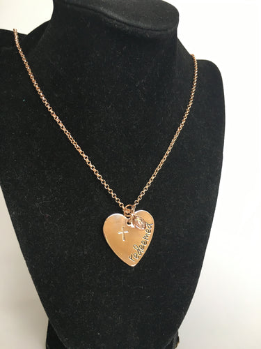 Redeemed Rose Colored Heart Necklace