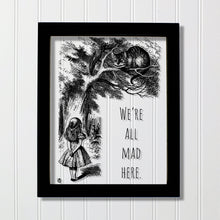 Lewis Carroll - Floating Quote - We're all mad here - Alice's Adventures in Wonderland - Transparent Image Cheshire Cat Illustration Acrylic