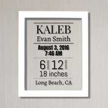 Birth Announcement - Baby Stats - New Baby - Nursery Decor - Push Present Gift - Personalized Name Birth Date Time Weight and Length - City