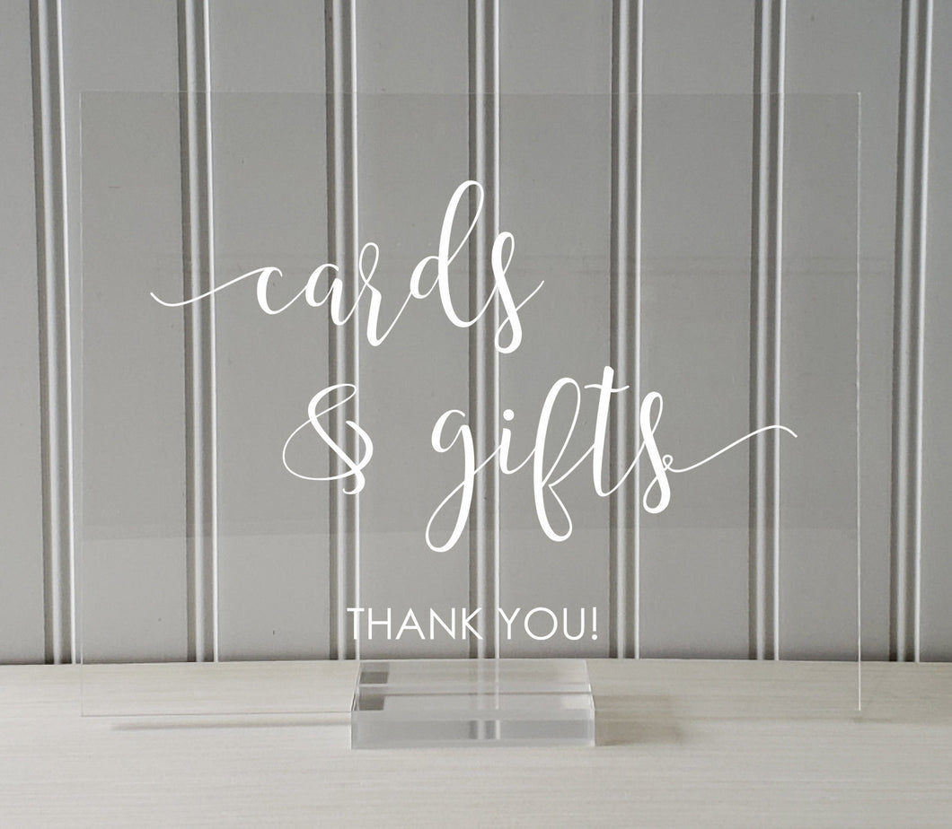 Cards and Gifts Sign - Wedding Gift Table - Plaque - Clear Transparent Acrylic - Table Top Stand Party Baby Bridal Shower Present Thank You