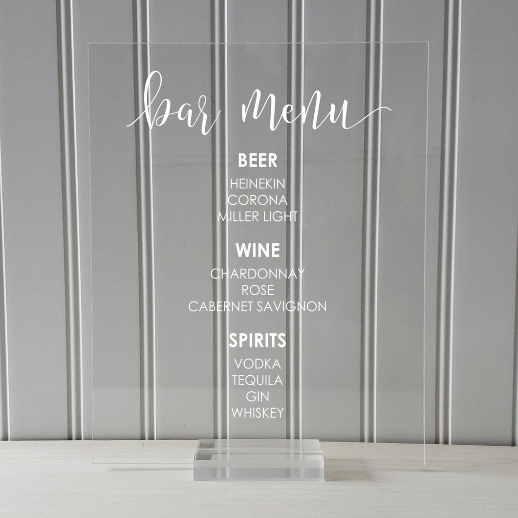 Bar Menu Sign - Wedding Reception - Clear Transparent Acrylic Table Stand Decor Party Bridal Shower Banquet Dinner Cocktails Alcohol Plaque