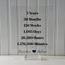 3 Year Anniversary Frame - Custom Names - Floating Frame - Anniversary Gift - Three Years Anniversary - Months Weeks Days Hours Minutes