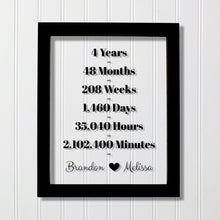 4 Year Anniversary Frame - Custom Names - Floating Frame - Anniversary Gift - Four Years Anniversary - Months Weeks Days Hours Minutes