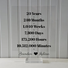 20 Year Anniversary Frame - Custom Names - Floating Frame - Anniversary Gift - Twenty Years Anniversary - Months Weeks Days Hours Minutes