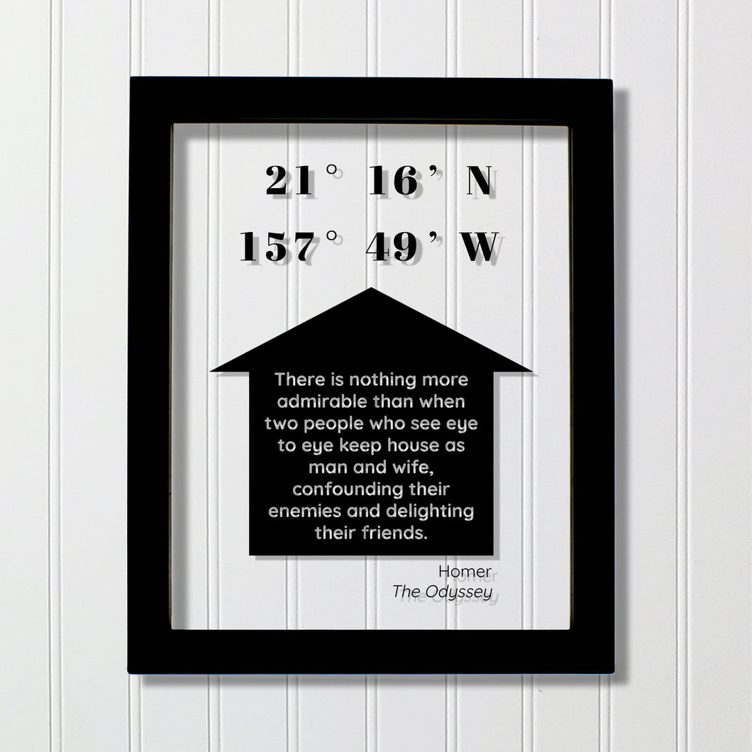 Longitude & Latitude Custom Art Floating Quote - Housewarming Gift - Man and Wife - Homer The Odyssey - Our Home Quote Wall  Husband Wife