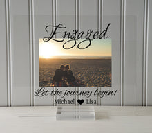 Engaged Frame - Floating Frame - Let the journey begin - Personalized Custom Names - Photo Picture Frame - Couple Engagement Betrothed