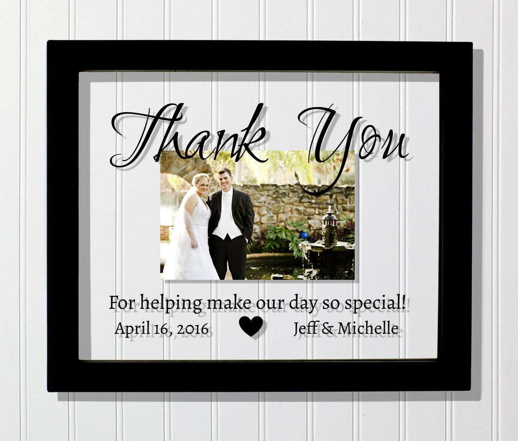 Thank You Wedding Frame - Floating Frame - Thank You For helping make our day so special- Photo Picture Frame Custom Name Date Personalized