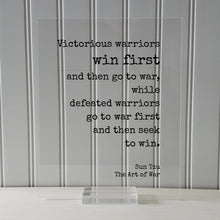 Sun Tzu - The Art of War - Floating Quote- Victorious warriors win first and then go to war defeated - Quote Art Print Book Literary Acrylic