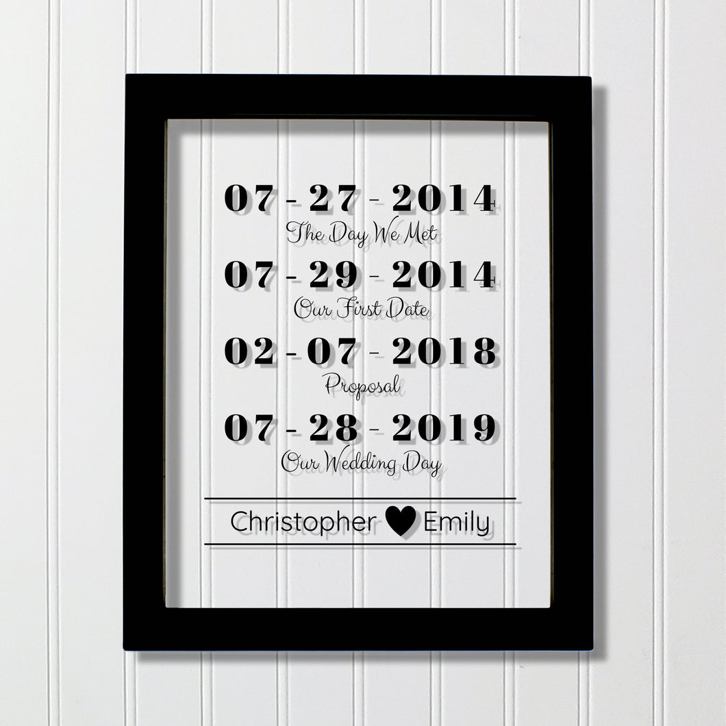 Special Dates Custom - Floating Transparent - Anniversary Gift - Wedding Gift - Day we Met - Our First Date - Proposal Wedding Personalized