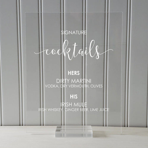 Signature Cocktails Bar Menu Sign - Wedding Reception - Clear Transparent Acrylic Table Stand Decor Bridal Dinner Alcohol Plaque Custom