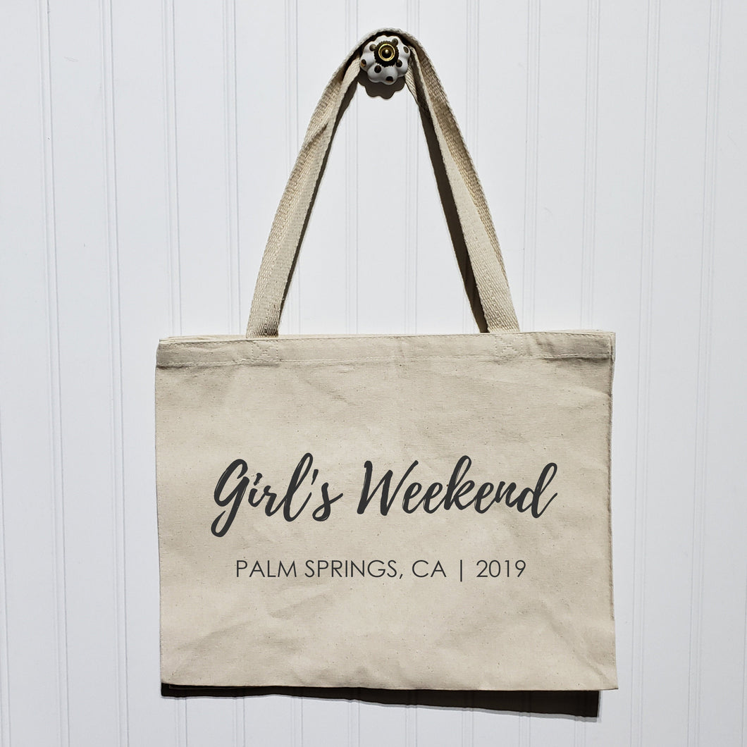 Girl's Weekend Tote Bag - Heavy Canvas Totebag - Custom Location and Year - Friend's Party Trip Personalized - Large Wide Shoulder Bag