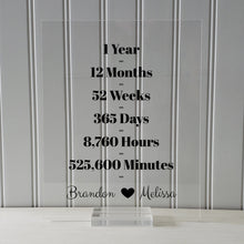 1 Year Anniversary Frame - Custom Names - Floating Frame - Anniversary Gift - One Year Anniversary - Months Weeks Days Hours Minutes