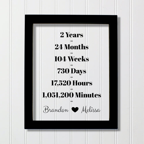 2 Year Anniversary Frame - Custom Names - Floating Frame - Anniversary Gift - Two Years Anniversary - Months Weeks Days Hours Minutes