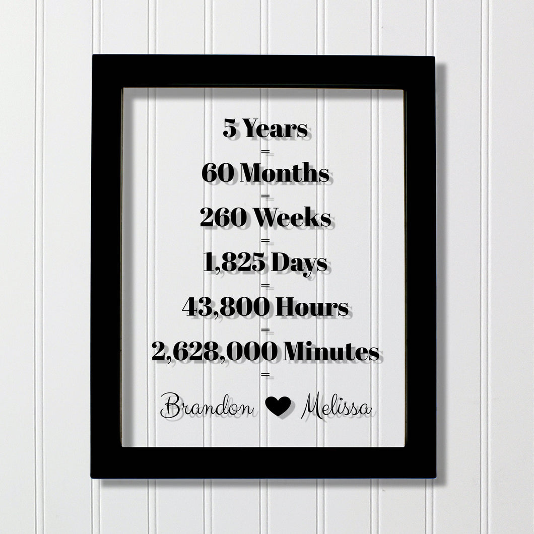 5 Year Anniversary Frame - Custom Names - Floating Frame - Anniversary Gift - Five Years Anniversary - Months Weeks Days Hours Minutes