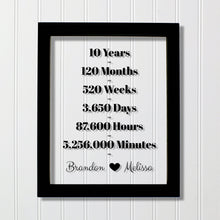 10 Year Anniversary Frame - Custom Names - Floating Frame - Anniversary Gift - Ten Years Anniversary - Months Weeks Days Hours Minutes