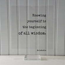 Aristotle - Knowing yourself is the beginning of all wisdom - Floating Quote - Improvement Growth Life Motivation Inspiration Aware