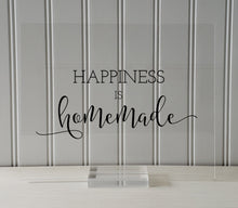 Happiness is homemade - Kitchen Sign Plaque - Farmhouse Decor - Gift for Cook Chef Baker - Cooking Baking - Floating Quote Crafting Handmade