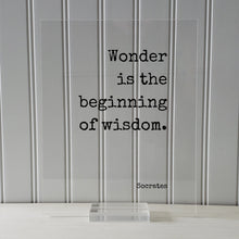 Socrates - Floating Quote - Wonder is the beginning of wisdom - Wise Knowledge Education Teaching Teacher Gift Learning