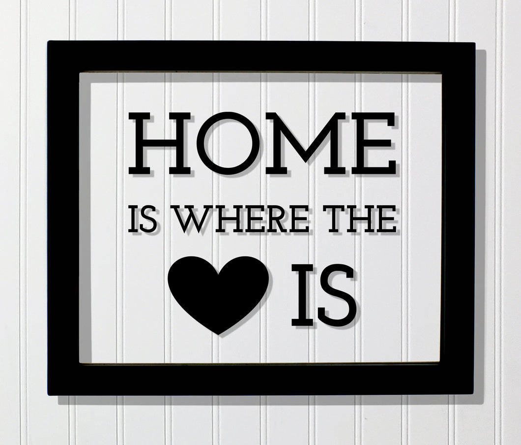Home is where the heart is - Housewarming Gift Present - Wall Hanging Home Decor Sign Plaque - Modern Minimalist Unique - Floating Quote