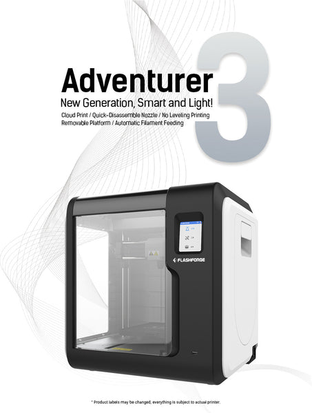 Flashforge Adventurer 3 - 3D Printer - Removable Flexible  Bed