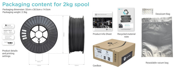 Polymaker PolyMide PA6-GF 2.0kg 1.75mm 3D Printing Filament - Spool Packaging
