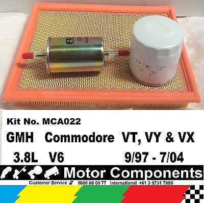 FILTER SERVICE KIT Oil Air Fuel HOLDEN Commodore VT VY VX 3.8L V6 9/97-7/04