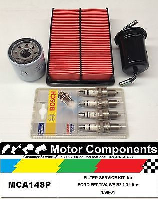 SPARK PLUGS & FILTER SERVICE KIT for FORD FESTIVA WF B3 1.3 Litre  1/98-01