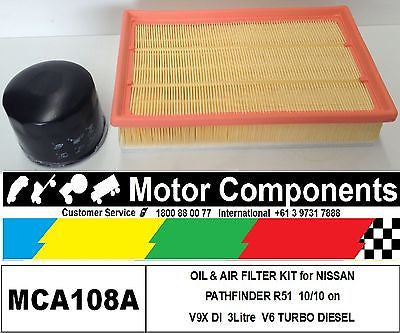 FILTER KIT for NISSAN PATHFINDER R51 V9X V6 3 Litre TURBO DIESEL OIL AIR 2010 on