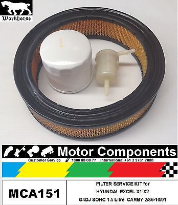 FILTER SERVICE KIT Oil Air Fuel for HYUNDAI EXCEL X1 X2 G4DJ CARBY 2/86-9/91