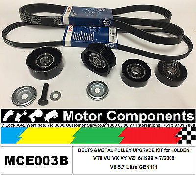 HOLDEN COMMODORE VTII VX VY VZ METAL PULLEY KIT & BELTS for 5.7 Litre V8 GEN III MCE003B