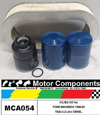 FILTER SERVICE KIT for FORD MAVERICK TD42 4.2 Litre Diesel 2/88-93 OIL FUEL AIR