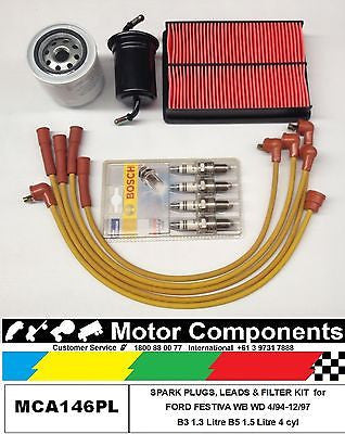 LEADS PLUGS & FILTER  KIT FORD FESTIVA WB WD B3 1.3 Litre B5 1.5 Litre 1994>1997
